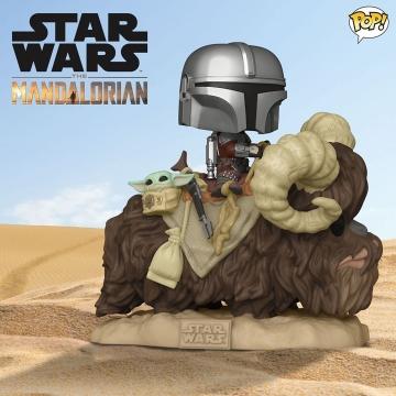 Фигурка Funko POP! Star Wars: The Mandalorian: Mando on Bantha with Child in Bag 52373